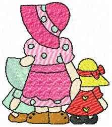 Girls in Bonnets embroidery design