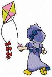 Kite Girl embroidery design