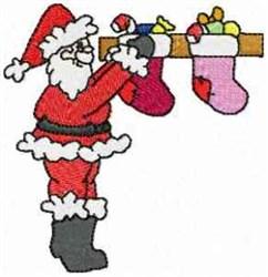 Santa Stuffing Stockings embroidery design