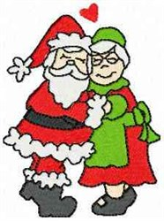Santa and Mrs. Claus embroidery design