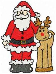 Santa and Rudolph embroidery design