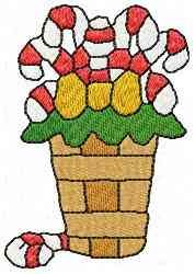 Basket of Candy Canes embroidery design
