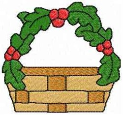 Holly Basket embroidery design