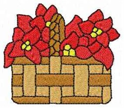 Poinsetta Basket embroidery design