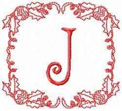 Christmas J embroidery design