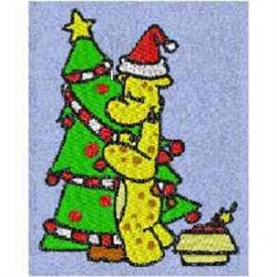 Trimming the Tree Giraffe embroidery design