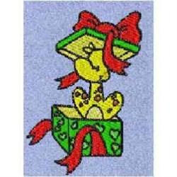 Gift Box Giraffe embroidery design