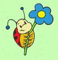 Floral Ladybug embroidery design