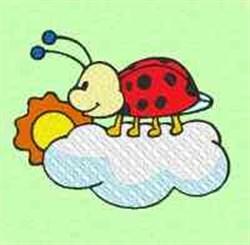 Cloud Ladybug embroidery design