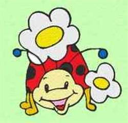 Flowers Ladybug embroidery design