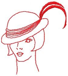 Redwork Feather Hat embroidery design