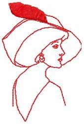 Redwork Plume Hat embroidery design