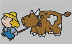 Cow and Girl embroidery design