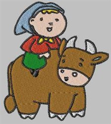 Girl and Cow embroidery design