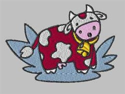Splash Cow embroidery design