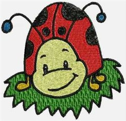Ladybug in Grass embroidery design