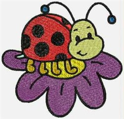 Ladybug on Flower embroidery design