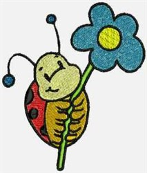 Flower Ladybug embroidery design