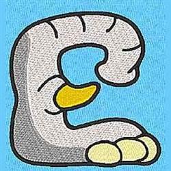 Animal E embroidery design
