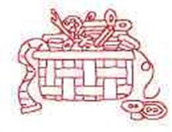 Redwork Sewing Basket embroidery design