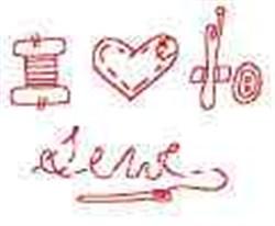 Redwork Love to Sew embroidery design