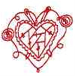Redwork Button Heart embroidery design