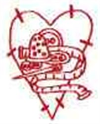 Redwork Thimble Heart embroidery design
