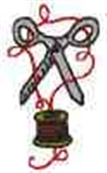 Scissors and Thread embroidery design