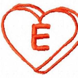 Heart E embroidery design