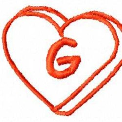 Heart G embroidery design