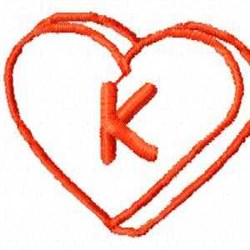 Heart K embroidery design