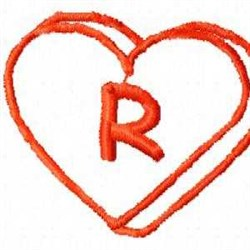 Heart R embroidery design