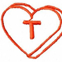 Heart T embroidery design
