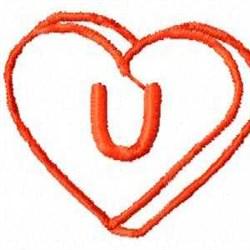 Heart U embroidery design