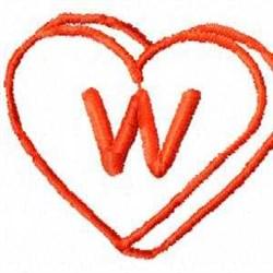 Heart W embroidery design
