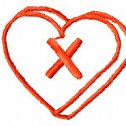 Heart X embroidery design
