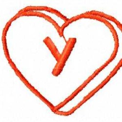 Heart Y embroidery design