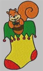 Squirrel Stocking embroidery design