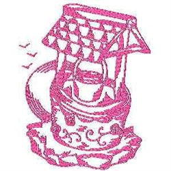 Redwork Watering Well embroidery design