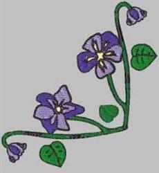 Purple Flower Corner embroidery design