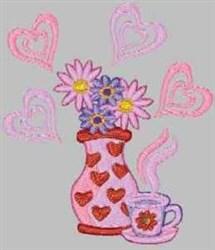 Floral Vase embroidery design