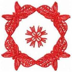 Red Butterflies Block embroidery design