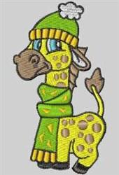 Green Scarf Giraffe embroidery design