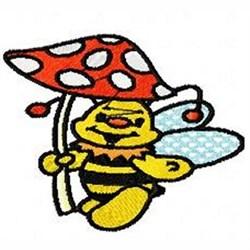Mushroom Umrella Bee embroidery design