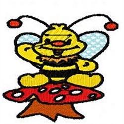 Mushroom Bee embroidery design