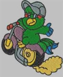 Wheelie Parrot embroidery design