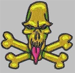 Tongue Sticking Skull embroidery design