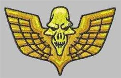 Gold Winged Skull embroidery design