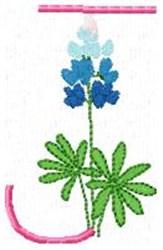 Blue Bonnet J embroidery design