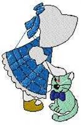 Sunbonnet with Kitty embroidery design
